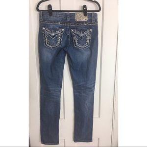 Miss me boyfriend ankle bling gold jeans 27